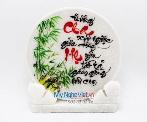 Đĩa đá lưu niệm Thư Pháp chữ Cha Mẹ