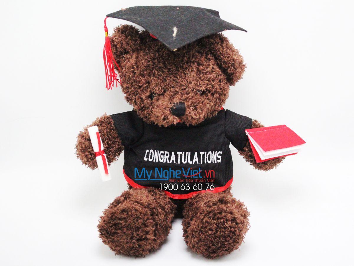 Gấu Teddy Melody socola tốt nghiệp - 50 cm MNV-GTN02