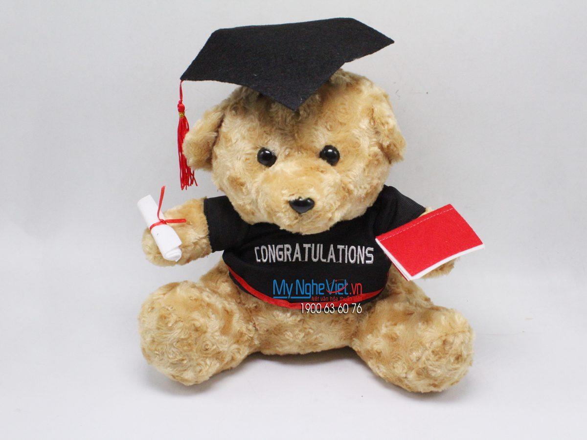 Gấu xoắn lông nâu tốt nghiệp - 30 cm MNV-GTN03