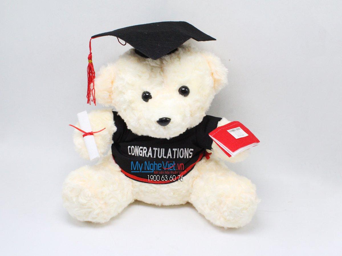 Gấu trắng tốt nghiệp - 30 cm MNV-GTN05