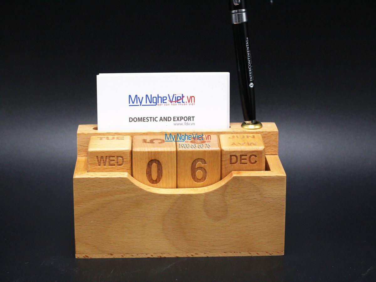 Lịch gỗ namcard bút MNV-QTN01-1
